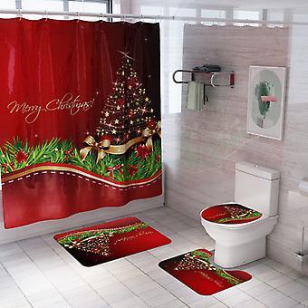 Navidad Santa Claus Snowman impresión personalizada impermeable ducha cortina antideslizante alfombras de baño alfombras de inodoro asiento cubierta piso Mat baño decoración