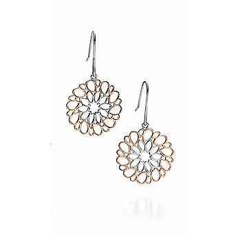 Fiorelli Silver Rose Gold Rhodium Cut Out Pattern Earrings E5081