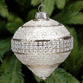 9cm Silber Streifen Design Glas Zwiebel Weihnachtsbaum Bauble