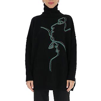 Pinko 1b14xly6n6z99 Kvinder's Sort Uld Sweater