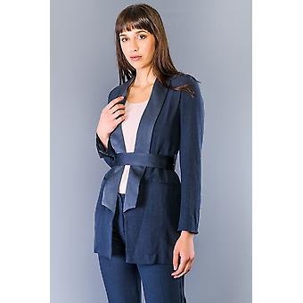 Twinset Indaco Blue Belted Jacket