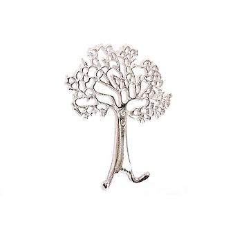 Silver Tree Of Life Wall Hanging Double Coat Hook Hanger Decoration