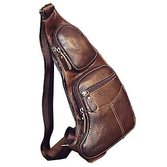 High Quality Men Genuine Leather Cowhide Vintage Sling Chest Back Day Pack