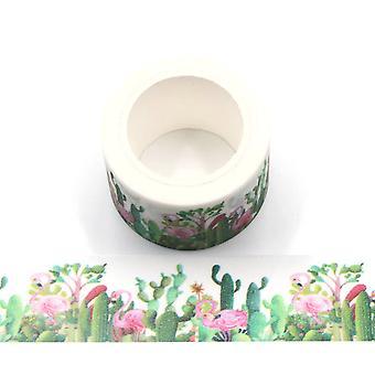 2 Rolls Glitter Cactus and Pink Flamingo Washi Tape 30mm x 5m