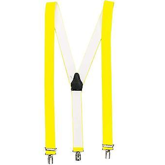 Neon gele hoge kwaliteit bretels met 3 clips clips Y-vorm unisex Oktoberfest