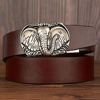Elephant Design Belt, Genuine Leather Strap, Automatic Buckle Belts