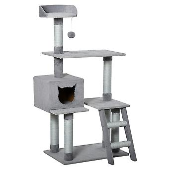 PawHut Multi-Level Cat Tree Tower Activity Center Climbing Frame Kitten House Furniture with Jute Scratching Posts Ladder Dangling Ball Toy Condo Perch Grey