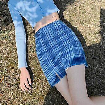 Korealainen värillinen ruudullinen hame Naiset Opiskelija Tyylikäs Lyhyt Seksikäs Mini Kevät Kesä
