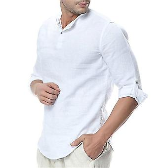 Men & apos;ق قمصان طويلة الأكمام, الكتان القطن عارضة الراحة قميص