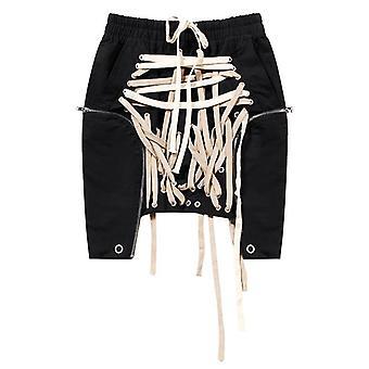 High Elastic Waist, Bandage Split Joint Irregular Half-body Skirt, Spring,