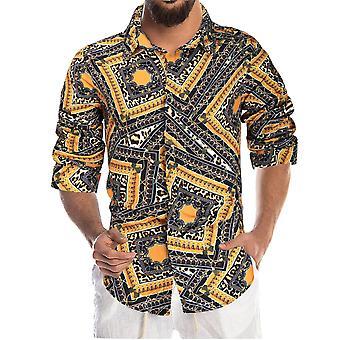 YANGFAN Men's Printed Long Sleeve Shirt Autumn Popular Top
