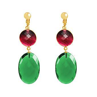 Gemshine oreilles clips tourmaline rouge et vert quartz 925 argent, plaqué or ou rose