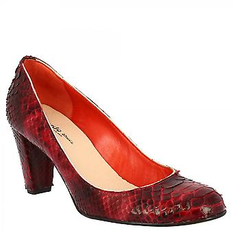 Leonardo Shoes Women's handmade round toe mid heels pumps shoes in red python leather
