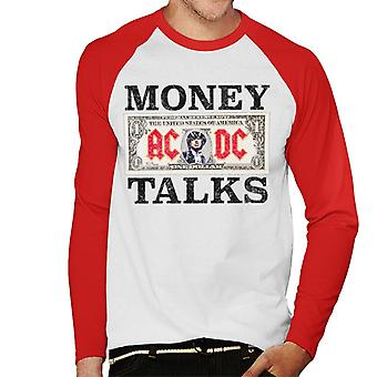 AC/DC Dollar Bill Money Talks Men's Baseball Long Sleeved T-Shirt