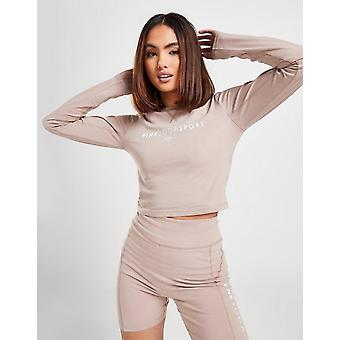 New Pink Soda Sport Women's Stitch Long Sleeve Crop Top from JD Outlet Brown