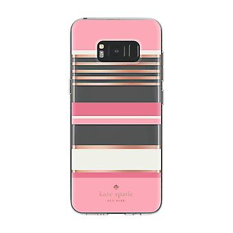 kate spade Flexible Hardshell Case for Galaxy S8 - Berber Stripe Clear/Atlas Pink/Rose Gold Foil/Cream