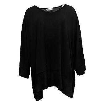 StyleList By Micaela Women's Top Faux Suede Trim Poncho Style Black A39018