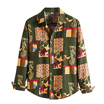 Allthemen Menăs Regular-Fit Cu mâneci lungi imprimate Poplin Shirt