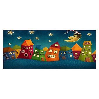 Mehrfarbige Hausmalerei aus Polyester, Holz, L70xP3xA100 cm
