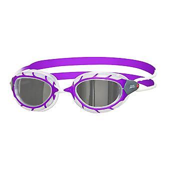 Zoggs Predator Mirror Junior Swim Goggle - Mirrored Lens - Purple/White