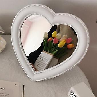 Peili työpöydän vaaleanpunainen rakkaus meikki peili seinä asennettu kaksikäyttöinen sydämen muotoinen roikkuva peili turhamaisuus peili tyttö huoneen seinän sisustus