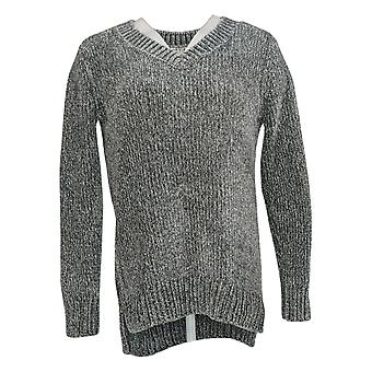 Orvis Women's Sweater Marbled Long Sleeve V Neck Pullover Gray