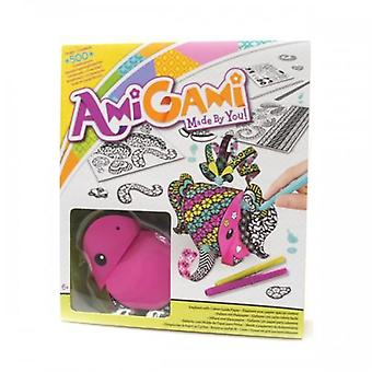 Amigami pink elephant with colour guide paper