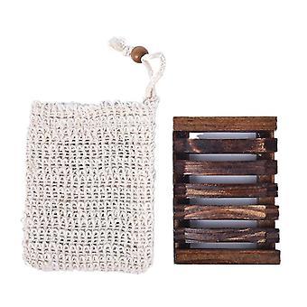 Porta vassoio per piatti di sapone in legno