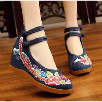 Women's Vintage Chinese Ethnic Embroidery High Heel Elevator Cheongsam Dress Shoes Phoenix