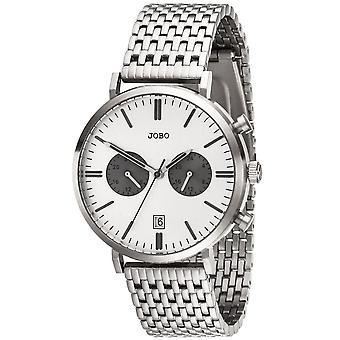 שעון יד של גברים JOBO קוורץ אנלוגי פלדת אל-חלד הגברים תאריך שעון