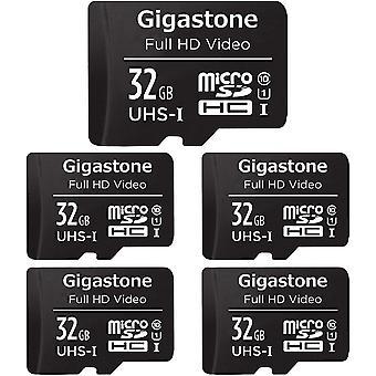 Gigastone 32GB Mirco SD Speicherkarte 5er-Pack, Wokexkameras und Drohnen, Lesegeschwindigkeit bis zu