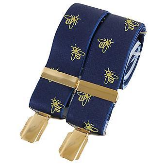 David Van Hagen Bee 35mm Clip Braces - Navy/Gold