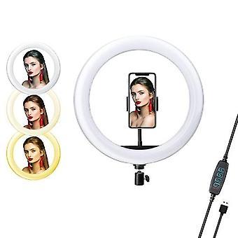 26cm/ 10inch LED Video Ring Light Lamp Dimmable 3 Lighting Modes 2700K-6500K USB Powered