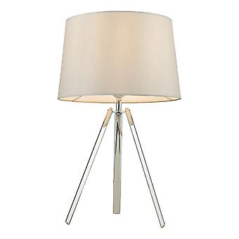Table Lamp Polished Chrome With Round Tapered Shade
