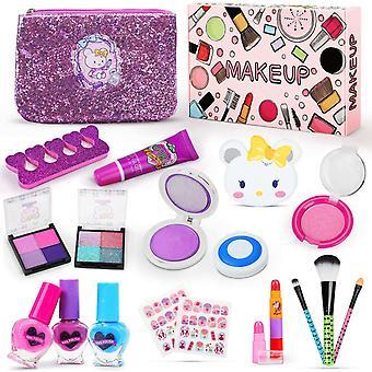 FengChun Make-up Set fr Kinder, 19 Stck Waschbar Kinderschminke Set mit 2 Haarfarbclip, 3 Herzfrmigen
