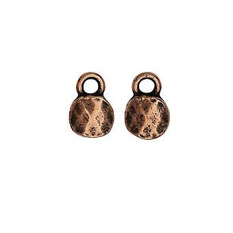 Vente finale - Charme en métal, Cercle à facettes 6mm, Cuivre antique, 2 pièces, par Nunn Design