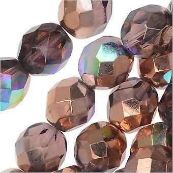 Tjekkisk Fire Poleret Glas, Facetteret Runde Perler 8mm, 20 Stykker, Light Amethyst Kobber Rainbow