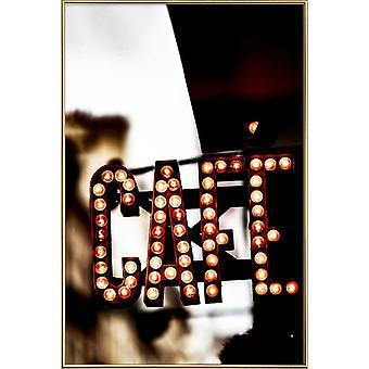 JUNIQE Print - Cafe - Paris Poster in Orange & Black
