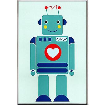 JUNIQE Print -  Robot with a Heart - Kinderzimmer & Kunst für Kinder Poster in Bunt