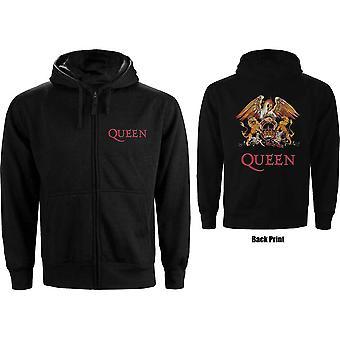 Queen - Clássico Crest Men's X-Large Zipped Hoodie - Preto