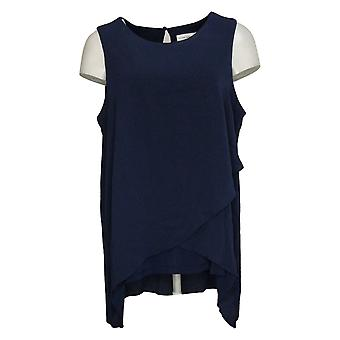 Susan Graver Women's Top Knit Sleeveless w/ Woven Overlay Blue A374106
