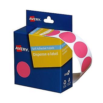 Avery Dispenser 24Mm Pink Dot Pack Of 500