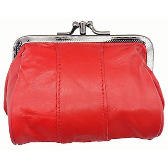 Ladies Dual Twist Top Soft Leather Coin Purse