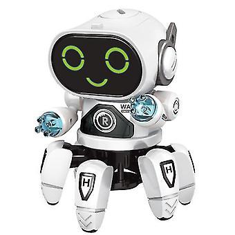 DIY Electric light music dancing six-jaw intelligent robot(White)
