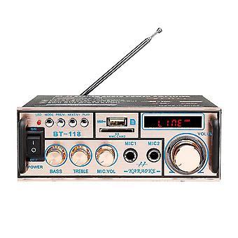 BT-118 bluetooth 2x10W Bass HIFI Lossless Amplifier 220V EU With Remote Control Support FM Memory Ca