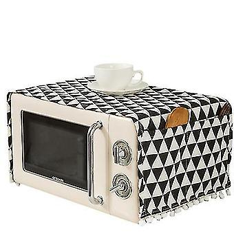Cotton Linen Fabric Microwave Cover Towel Refrigerator Washing Machine Black Plaid Dust Cover(55*130