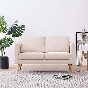 vidaXL 2-Sitzer-Sofa Stoff Cremeweiß