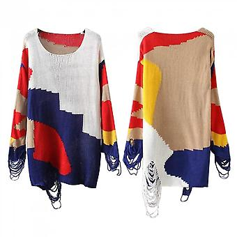 Unique Design Hollowed Out Knitted Dress Leisure Medium Length Loose Sweater