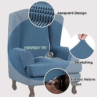 Stretch jacquard wingback chair covers slipcovers wing chair covers (base cover plus seat cushion cover, blue)
