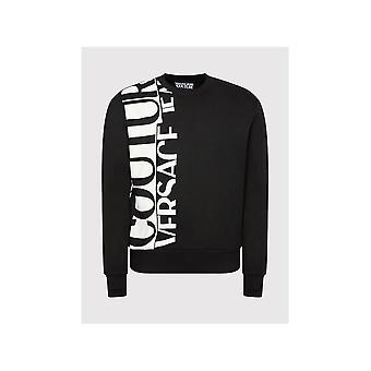 Versace Jeans Couture Cotton Side Logo Print Black Sweatshirt